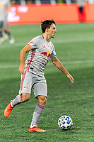 FOXBOROUGH, MA - AUGUST 29: Jared Stroud #8 of New York Red Bulls looks to pass during a game between New York Red Bulls and New England Revolution at Gillette Stadium on August 29, 2020 in Foxborough, Massachusetts.