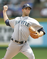 Seattle Mariners P Brandon Morrow  against the Texas Rangers on May 14th, 2008 at Texas Rangers Ball Park. Photo by Andrew Woolley / Four Seam Images.
