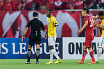 Jiangsu FC Midfielder Ramires Santos (C) talks to Fifa Referee Mohanad Qasim Eesee Sarray of Iraq (L) during the AFC Champions League 2017 Round of 16 match between Shanghai SIPG FC (CHN) vs Jiangsu FC (CHN) at the Shanghai Stadium on 24 May 2017 in Shanghai, China. Photo by Marcio Rodrigo Machado / Power Sport Images