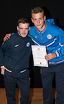 St Johnstone FC Academy Awards Night...06.04.15  Perth Concert Hall<br /> Ally Gilchrist presents a certificate to Steven McGuigan<br /> Picture by Graeme Hart.<br /> Copyright Perthshire Picture Agency<br /> Tel: 01738 623350  Mobile: 07990 594431