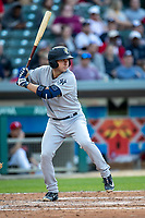 Kyle Higashioka (66) of the Scranton/Wilkes-Barre RailRiders at bat at Victory Field on May 14, 2019 in Indianapolis, Indiana. The Indians defeated the RailRiders 4-2. (Andrew Woolley/Four Seam Images)