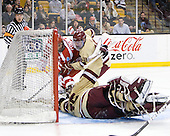 Chris Connolly (BU - 12), Michael Sit (BC - 18), Parker Milner (BC - 35) - The Boston College Eagles defeated the Boston University Terriers 3-2 (OT) to win the 2012 Beanpot championship on Monday, February 13, 2012, at TD Garden in Boston, Massachusetts.