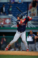 Lowell Spinners Nick Decker (21) at bat during a NY-Penn League game against the Batavia Muckdogs on July 11, 2019 at Dwyer Stadium in Batavia, New York.  Batavia defeated Lowell 5-2.  (Mike Janes/Four Seam Images)