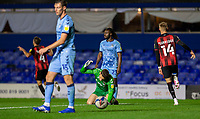 2nd October 2020; St Andrews Stadium, Coventry, West Midlands, England; English Football League Championship Football, Coventry City v AFC Bournemouth; Coventry City Goalkeeper Marko Marosi slams the grass with his fist after Dan Gosling of AFC Bournemouth scored to take the lead in the 51st minute 1-2