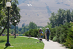 The riverfront trail along the Clark Fork River through Missoula, Montana