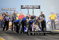 Jul, 8, 2011; Joliet, IL, USA: NHRA top fuel dragster crew members for driver Antron Brown during qualifying for the Route 66 Nationals at Route 66 Raceway. Mandatory Credit: Mark J. Rebilas-