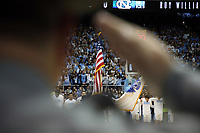 CHAPEL HILL, NC - FEBRUARY 1: The Star Spangled Banner during the playing of the national anthem during a game between Boston College and North Carolina at Dean E. Smith Center on February 1, 2020 in Chapel Hill, North Carolina.
