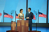New York, NY - August 30, 2004 --  Former New York Giant Jason Sehorn and his wife, actress Angie Harmon speak at the 2004 Republican Convention in Madison Square Garden in New York on August 30, 2004..Credit: Ron Sachs / CNP.(RESTRICTION: No New York Metro or other Newspapers within a 75 mile radius of New York City)
