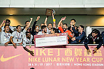 Auckland City FC Squad celebrate with the Champions Trophy after winning the Lunar New Year Cup match between SC Kitchee (HKG) and Auckland City FC (NZL) on January 31, 2017 in Hong Kong, Hong Kong. Photo by Marcio Rodrigo Machado / Power Sport Images