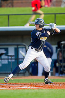 Eric Kalbfleisch (34) of the UNCG Spartans at bat against the Georgia Southern Eagles at UNCG Baseball Stadium on March 29, 2013 in Greensboro, North Carolina.  The Spartans defeated the Eagles 5-4.  (Brian Westerholt/Four Seam Images)
