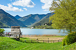 Italy, Trentino, Molina di Ledro: Stilt house museum (Museo delle Palafitte) at lake Lago di Ledro | Italien, Trentino, Molina di Ledro: Pfahlbaumuseum (Museo delle Palafitte) am Ledrosee (Lago di Ledro)