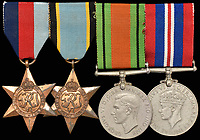 BNPS.co.uk (01202 558833)<br /> Pic: Morton&Eden/BNPS<br /> <br /> The medals of a war hero who played a key role in the 'Great Escape' are being sold for the first time.<br /> <br /> Flight Lieutenant Leslie Broderick was in charge of the entrance of one of three escape tunnels beneath the German prison camp that 76 PoWs later broke out from.<br /> <br /> The RAF pilot was one of those who famously escaped and spent three days on the run with two others before a German farmer they sought help from turned them in.<br /> <br /> F/Lt Broderick was returned to Stalag Luft III and spent three weeks in isolation. <br /> <br /> But his two colleagues - Flying Officer Denys Street and F/O Henry Birkland - were among the 50 escapees executed by the Gestapo on the orders of Adolf Hitler.