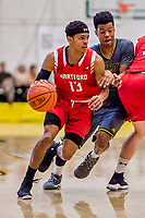18 February 2018: Hartford University Hawk Guard J.R. Lynch, a Junior from Hoboken, NJ, in action against the University of Vermont Catamounts at Patrick Gymnasium in Burlington, Vermont. The Catamounts fell to the Hawks 69-68 in their America East Conference matchup. Mandatory Credit: Ed Wolfstein Photo *** RAW (NEF) Image File Available ***