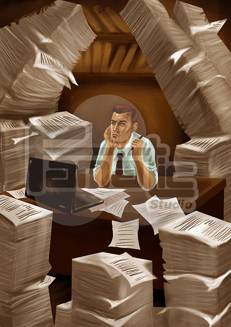 Businessman with heap of papers around him in an office