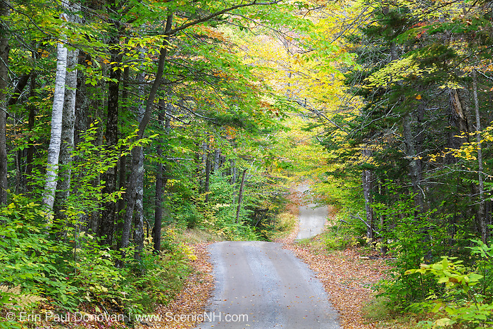The Sandwich Notch Road in Sandwich, New Hampshire during the autumn months. This historic road was established in 1801.