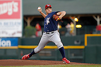 Lehigh Valley IronPigs pitcher Scott Mathieson #27 delivers a pitch during a game against the Rochester Red Wings at Frontier Field on August 18, 2011 in Rochester, New York.  Lehigh Valley defeated Rochester 11-1.  (Mike Janes/Four Seam Images)