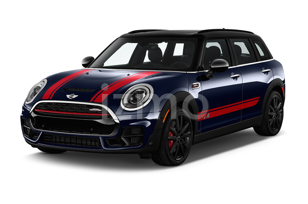 2019 MINI Clubman John-Cooper-Works-ALL4 5 Door Wagon Angular Front stock photos of front three quarter view