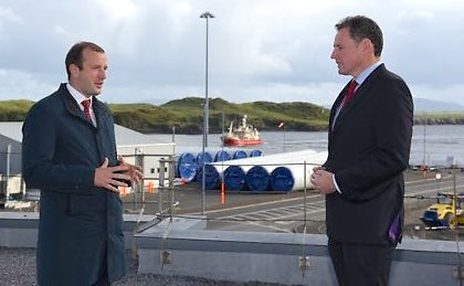 Commissioner for Environment, Oceans and Fisheries Virginijus Sinkevičius (left) with Minister Charlie Mc Conalogue T.D. on a visit to Killybegs Fishery Harbour Centre