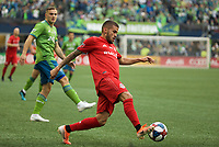 SEATTLE, WA - NOVEMBER 10: Toronto FC defender Auro #96 controls the ball during a game between Toronto FC and Seattle Sounders FC at CenturyLink Field on November 10, 2019 in Seattle, Washington.
