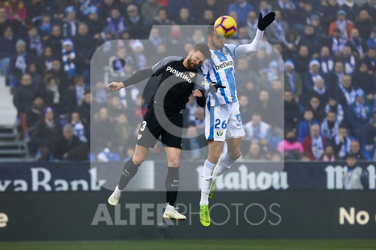 CD Leganes' Youssef En-Nesyri and Sevilla FC's Sergi Gomez during La Liga match between CD Leganes and Sevilla FC at Butarque Stadium in Leganes, Spain. December 23, 2018. (ALTERPHOTOS/A. Perez Meca)