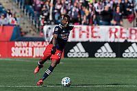 FOXBOROUGH, MA - MARCH 7: Cristian Penilla #70 of New England Revolution passes the ball during a game between Chicago Fire and New England Revolution at Gillette Stadium on March 7, 2020 in Foxborough, Massachusetts.
