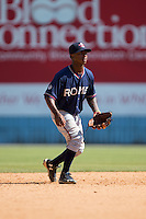 Rome Braves shortstop Ozhaino Albies (7) on defense against the Asheville Tourists at McCormick Field on July 26, 2015 in Asheville, North Carolina.  The Tourists defeated the Braves 16-4.  (Brian Westerholt/Four Seam Images)