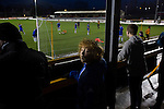 Alloa Athletic 0 Peterhead 1,14/01/2017. Recreation Park, Scottish League One. Home supporters watching closing stages as Alloa Athletic take on Peterhead (in blue) in a Scottish League One fixture at Recreation Park, with the Ochil Hills in the background. The club was formed in 1878 as Clackmannan County, changing the name to Alloa Athletic in 1883. The visitors won the match by one goal to nil, watched by a crowd of 504. Photo by Colin McPherson.