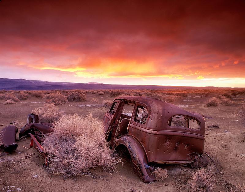 F00161M.tif   Old car in dump at Summer Lake Wildlife Rufuge and sunrise, Oregon
