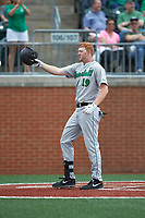 Tommy Lane (19) of the Marshall Thundering Herd crosses home plate after hitting a home run against the Charlotte 49ers at Hayes Stadium on April 23, 2016 in Charlotte, North Carolina. The Thundering Herd defeated the 49ers 10-5.  (Brian Westerholt/Four Seam Images)