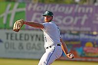 Daytona Tortugas pitcher Barrett Astin (17) on the mound during a game against the Tampa Yankees at Radiology Associates Field at Jackie Robinson Ballpark on June 13, 2015 in Daytona, Florida. Tampa defeated Daytona 8-6. (Robert Gurganus/Four Seam Images)