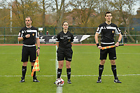 referee Irmgard Van Meirvenne (M) with assistant rereees Glenn Lakiere (R) and Toon Bonduel (L) pictured during a female soccer game between SV Zulte - Waregem and KRC Genk on the 8 th matchday of the 2020 - 2021 season of Belgian Scooore Women s SuperLeague , saturday 21 th of November 2020  in Zulte , Belgium . PHOTO SPORTPIX.BE | SPP | DIRK VUYLSTEKE