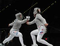 European Championships Fencing 2010 / Fecht Europameisterschaft 2010 in Leipzig - Competition Championat d'europe - im Bild: Sibylle Klemm (GER, left) in semi finale women sabre . Foto: Norman Rembarz..Norman Rembarz , Autorennummer 41043728 , Augustenstr. 2, 04317 Leipzig, Tel.: 01794887569, Hypovereinsbank: BLZ: 86020086, KN: 357889472, St.Nr.: 231/261/06432 - Jegliche kommerzielle Nutzung ist honorar- und mehrwertsteuerpflichtig! Persönlichkeitsrechte sind zu wahren. Es wird keine Haftung übernommen bei Verletzung von Rechten Dritter. Autoren-Nennung gem. §13 UrhGes. wird verlangt. Weitergabe an Dritte nur nach  vorheriger Absprache..