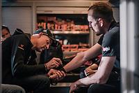 John Degenkolb's (DEU/Trek-Segafredo) wrists being taped in by the team doctor pre-race<br /> <br /> 116th Paris-Roubaix (1.UWT)<br /> 1 Day Race. Compiègne - Roubaix (257km)