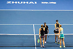 Xinyu Jiang (L) and Qianhui Tang (R) of China shakes hands with Alicja Rosolska of Poland and Anna Smith of Great Britain after winning the doubles Round Robin match of the WTA Elite Trophy Zhuhai 2017 at Hengqin Tennis Center on November  03, 2017 in Zhuhai, China.  Photo by Yu Chun Christopher Wong / Power Sport Images