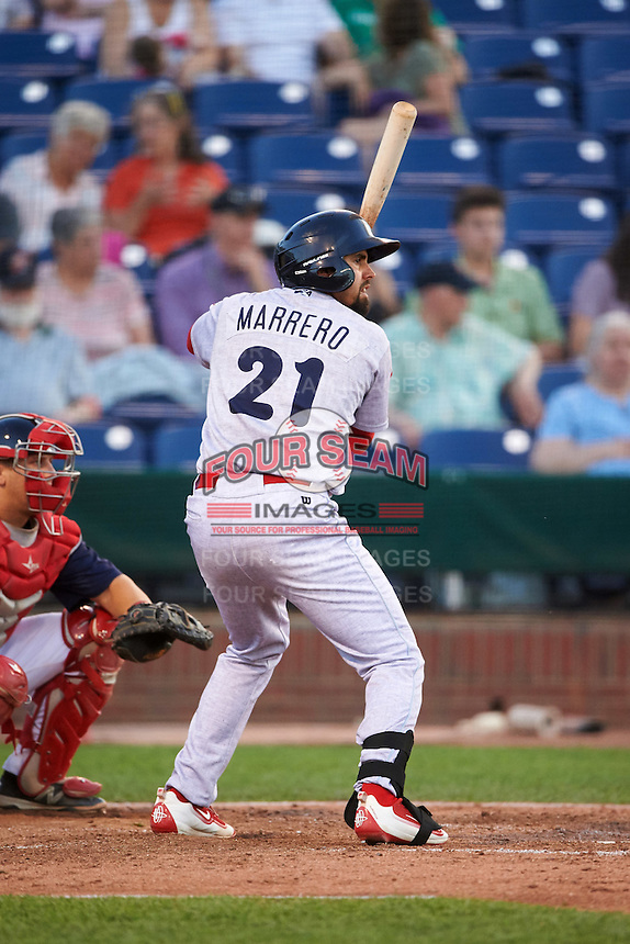 Reading Fightin Phils first baseman Christian Marrero (21) during a game against the Portland Sea Dogs on May 31, 2016 at Hadlock Field in Portland, Maine.  Reading defeated Portland 6-4.  (Mike Janes/Four Seam Images)