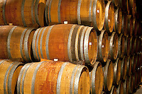 Wine barrels at Sattui Vineyards. Napa Valley, California.