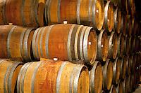 Wine barrels at Sattui Vineyards. Napa Valley, California.