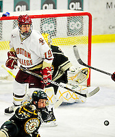 12 November 2010: Boston College Eagle forward Chris Kreider, a Sophomore from Boxford, MA, in action against the University of Vermont Catamounts at Gutterson Fieldhouse in Burlington, Vermont. The Eagles edged out the Cats 3-2 in the first game of their weekend series. Mandatory Credit: Ed Wolfstein Photo