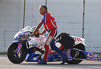 Aug. 30, 2013; Clermont, IN, USA: NHRA pro stock motorcycle rider Hector Arana Sr during qualifying for the US Nationals at Lucas Oil Raceway. Mandatory Credit: Mark J. Rebilas-