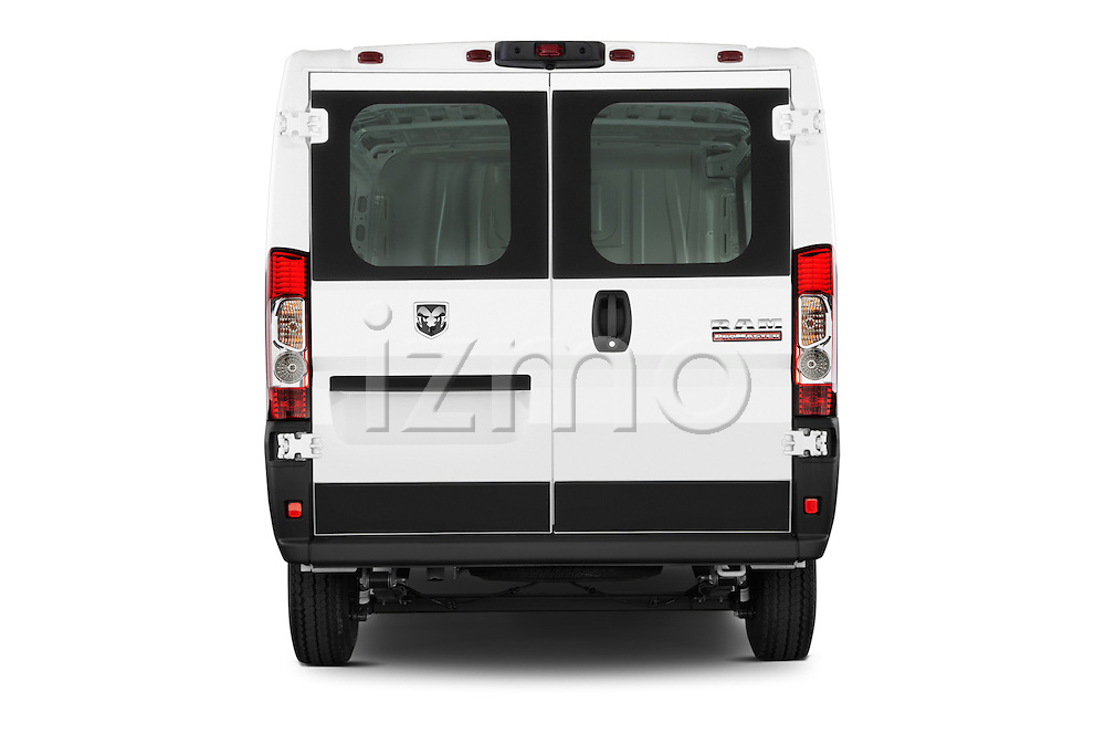 Straight rear view of a 2015 Ram Promater 1500 118 Wb  4 Door Cargo Van stock images