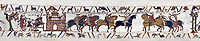 Bayeux Tapestry Scene 12 and 13  - Duke William gives orders to messengers  and Harold is handed over by Guy count of Ponthieu to Duke Williams