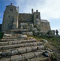 Roughly hewn granite steps lead up to the castle of St Michael's Mount which is located on one of the most important ley lines in England