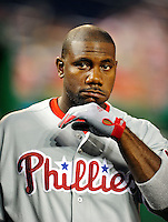 27 September 2010: Philadelphia Phillies' first baseman Ryan Howard stands in the dugout prior to a game against the Washington Nationals at Nationals Park in Washington, DC. Mandatory Credit: Ed Wolfstein Photo