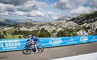 James Knox (GBR/Deceuninck-QuickStep) at the finish after climbing the extremely brutal Alto de los Machucos <br /> <br /> Stage 13: Bilbao to Los Machucos / Monumento Vaca Pasiega (166km)<br /> La Vuelta 2019<br /> <br /> ©kramon