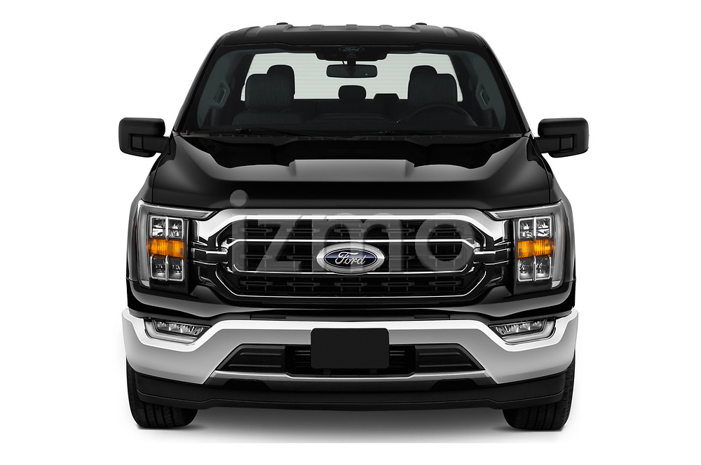 Car photography straight front view of a 2021 Ford F-150 XLT 4 Door Pick-up Front View