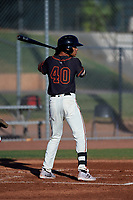 AZL Giants Black Grant McCray (40) at bat during an Arizona League game against the AZL Angels at the Giants Baseball Complex on June 21, 2019 in Scottsdale, Arizona. AZL Angels defeated AZL Giants Black 6-3. (Zachary Lucy/Four Seam Images)