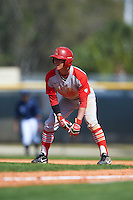 Ball State Cardinals left fielder Roman Baisa (3) leads off first during a game against the Villanova Wildcats on March 3, 2017 at North Charlotte Regional Park in Port Charlotte, Florida.  Ball State defeated Villanova 3-1.  (Mike Janes/Four Seam Images)