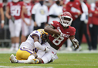 Arkansas wide receiver Mike Woods (8) carries the ball, Saturday, November 21, 2020 during the third quarter of a football game at Donald W. Reynolds Razorback Stadium in Fayetteville. Check out nwaonline.com/201122Daily/ for today's photo gallery. <br /> (NWA Democrat-Gazette/Charlie Kaijo)