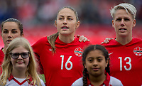 CARSON, CA - FEBRUARY 9: Jessie Fleming #17, Janine Beckie #16 and Sophie Schmidt #13 of Canada during a game between Canada and USWNT at Dignity Health Sports Park on February 9, 2020 in Carson, California.