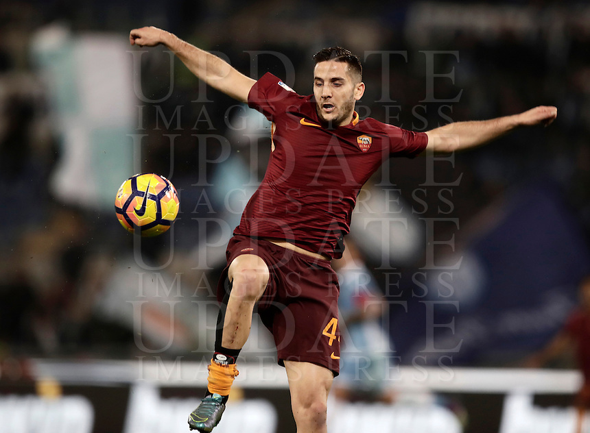 Calcio, Serie A: Roma, stadio Olimpico, 1marzo 2017.<br /> Roma's Kostas Manolas in action during the Italian TIM Cup 1st leg semifinal football match between Lazio and AS Roma at Rome's Olympic stadium, on March 1, 2017.<br /> UPDATE IMAGES PRESS/Isabella Bonotto